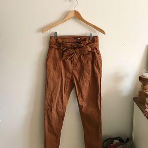 Fashion Nova burnt orange paper bag pants